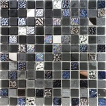 Black Iridescent Floral Decor Insert Glass Stone Mosaic Tile