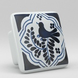Blue Willow Bird Floral Leaf Square Ceramic Knob
