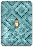 Blue Diamond Square Pattern Metal Switch Plate Design 2