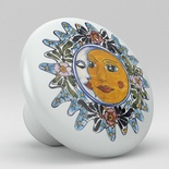 Sun Moon Talavera Design Ceramic Knob