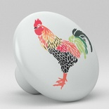 Country Rooster Art Ceramic Knob Vanity