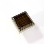Dark Brown Hand Paint Crystal Glass Brushed Nickel Square Perception Knob