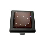 Brown Iridescent Dots Crystal Glass Black Metal Square Manor Knob