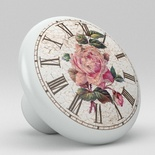 Antique French English Floral Country Clock Watch Ceramic Knob Design 34