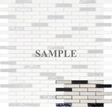 Sample Iridescent Glass White Natural Stone Mosaic Tile