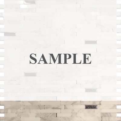 Sample Carrara White Marble And Metal Insert Blends Mosaic Tile