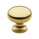 "1-1/4"" Gold Brass Traditional Solid Cabinet Knob"