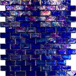 Blue Iridescent Glass Blends Subway Mosaic Tile