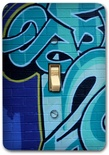 Blue Graffiti Art Metal Switch Plate