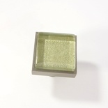 Green Metallic Crystal Glass Brushed Nickel Square Perception Knob