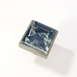 Blue Crackle Crystal Glass Brushed Nickel Square Perception Knob