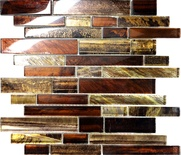 Golden Brown Metallic Linear Glass Mosaic Tile