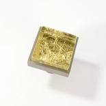 Metallic Gold Crystal Glass Brushed Nickel Square Perception Knob