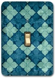 Blue Flower Floral Pattern Diamond Metal Switch Plate