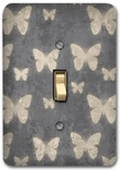 Gray Butterfly Metal Metal Switch Plate