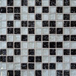 Black White Crackle Glass Blends Mosaic Tile
