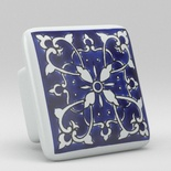 Blue Willow Floral Flower Square Ceramic Knob
