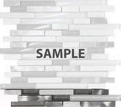 Sample White Glass Natural Stone Metal Blend Linear Glass Mosaic Tile