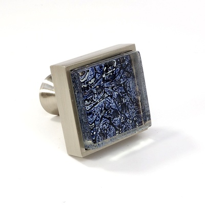 Blue Metallic Crystal Glass Brushed Nickel Square Perception Knob