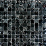 Black Crackle Polish And Frosted Glass Blends Mosaic Tile