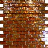 Golden Brown Iridescent Glass Subway Glass Mosaic Tile