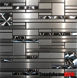 Brushed Nickel Jeweling Pattern Stainless Steel Blends Mosaic Tile