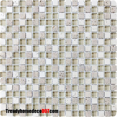 Tuscany Travertine Marble Stone Cream Glass Blends Mosaic Tile