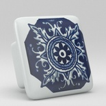 Blue Willow Floral Cupboard Vanity Square Ceramic Knob