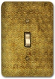 Brown Yellow Wave Pattern Metal Switch Plate