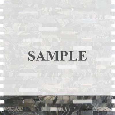 Sample Black Gray Marble Stone And Metal Insert Blends Mosaic Tile