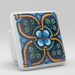 Green Blue Leaf Floral Square Ceramic Knob