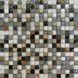 Slate Stone Gray White Crackle Glass Blends Mosaic Tile