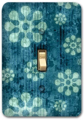 Blue Flower Floral Pattern Metal Switch Plate Design 1