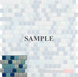 Sample Blue White Iridescent Glass Blends Mosaic Tile