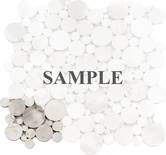 Sample Carrara White Marble Circle Bubble Pattern Mosaic Tile