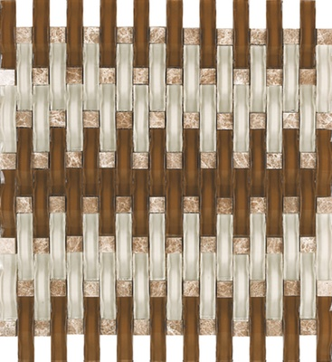 Brown White Wavy Glass Emperador Blends Mosaic Tile