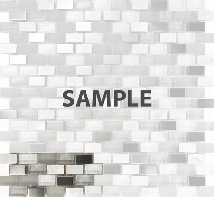 Sample White Glass Mother Of Pearl Shell Stainless Steel Blends Mosaic Tile