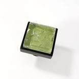 Lime Green Crackle Crystal Glass Black Metal Square Perception Knob