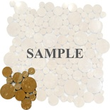 Sample Inca Gold Yellow Marble Circle Bubble Pattern Mosaic Tile