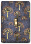 Blue Oriental Tree Pattern Metal Switch Plate Design 2