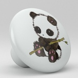 Cute Panda Bamboo Ceramic Knob Design 1