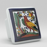 Bird Floral Flower Square Ceramic Knob
