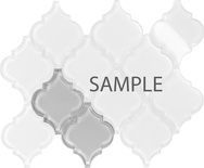 Sample White Arabesque Moroccan Pattern Glass Mosaic Tile