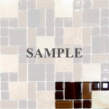 Sample Brown Random Square Pattern Marble Stone & Glass Mosaic Tile