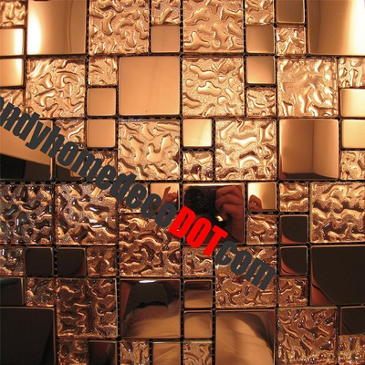 Copper Metal Pattern Texture Glass Mosaic Tile