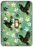 Blue Flying Birds Floral Metal Switch Plate Design 1