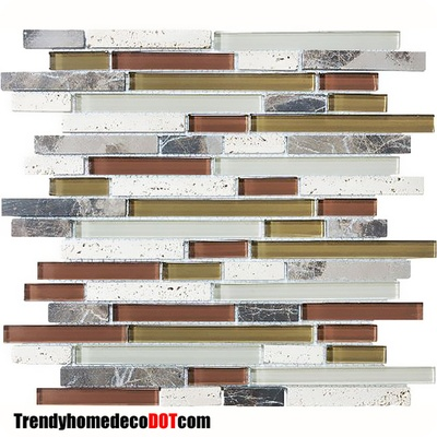Emperador Dark Marble Tuscany Travertine Green Brown Glass Blends Mosaic Tile