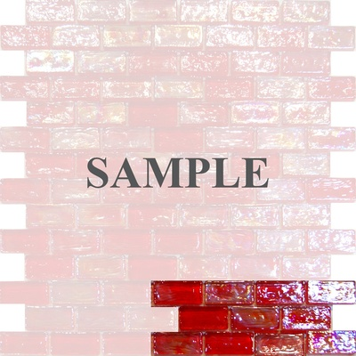 Sample Red Iridescent Glass Subway Mosaic Tile
