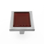 Burgundy Red Crystal Glass Brushed Nickel Square Manor Knob