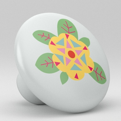 Retro Floral Flower Ceramic Knob Vanity Design 2